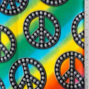 Rainbow Peace Sign Fleece Fabric