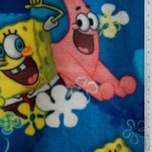 Spongebob and Patrick Blue Fleece Fabric