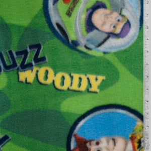 Toy Story - Buzz and Woody Green Fleece Fabric
