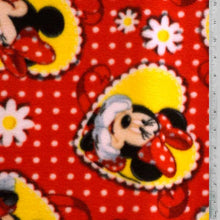 Disney Minnie Mouse w/ White Daisys - Red Fleece Fabric