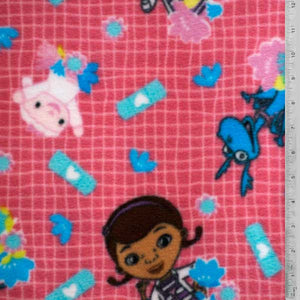 Disney Doc McStuffins Dark Pink Fleece Fabric