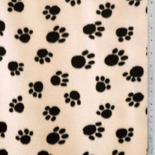 Paw Prints - Black on Ivory Background Fleece Fabric