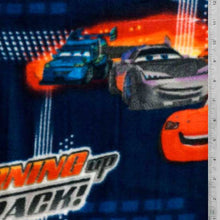"Disney  Cars 2 ""Burnin Up the Track"" Navy Blue Fleece Fabric"