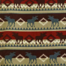 Fall Moose Tribal Fleece with Tan and Maroon Background