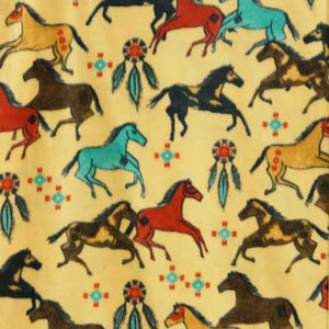 Native American Horses on Gold Background Fleece