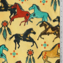 Native American Horses on Gold Background Fleece Fabric