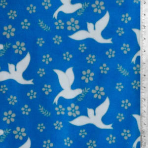 Doves Carrying Olive Branch Royal Blue Fleece Fabric