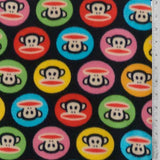 Paul Frank Colorful Monkey Circles Fleece Fabric