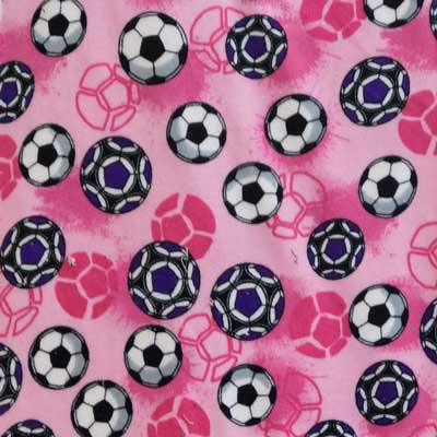 Soccer Balls - Purple & White with Light Pink Background Micro Fleece
