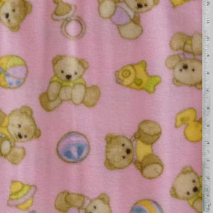 Teddy Bears & Blocks with Light Pink Fleece Fabric