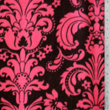 Fuchsia Damask Chocolate Background Fleece Fabric