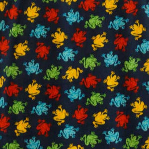 Colorful Froggyz on Navy Blue Background Fleece