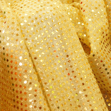 Bright Gold Confetti Dot Sequin Cheer Bow Costume Fabric by the Yard