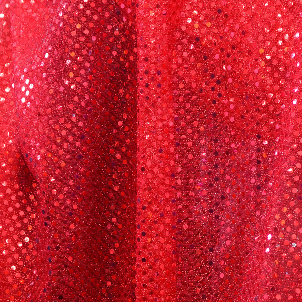 Bright Red Confetti Dot Sequin Cheer Bow Costume Fabric by the Yard