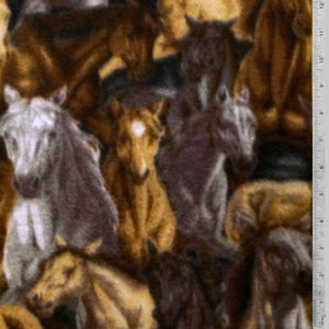 Horses Collage Brown, Tan & White Fleece Fabric
