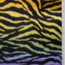 Zebra Stripes Rainbow Background Fleece Fabric