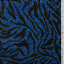 Zebra Stripes Royal Blue Background Fleece Fabric