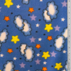 Clouds & Stars on Light Blue Fleece Fabric - Reduced Price