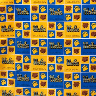 "UCLA Bruins Yellow & Blue Blocks w/ Bruins & Paws 45"" 100 % Cotton"