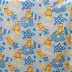 Teddy Bears w/ Stars & Clouds Baby Blue Background Fleece