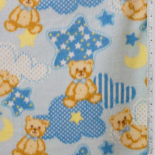 Teddy Bears w/ Stars & Clouds Baby Blue Fleece Fabric