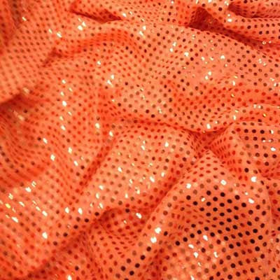 Neon Orange Confetti Dot Sequin Cheer Bow Costume Fabric by the Yard