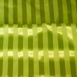 Lime Green Striped Satin Jacquard