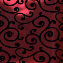 Flocked Burgundy Taffeta with Black Swirls