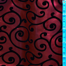 Flocked Burgundy Taffeta with Black Swirls Fabric