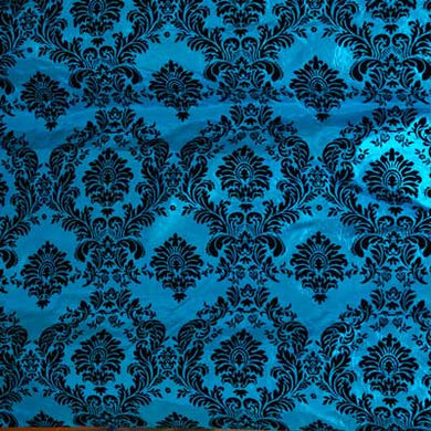 Flocked Turquoise Blue Taffeta with Black Damask
