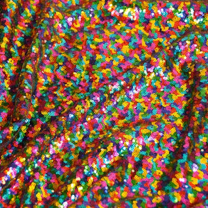 Rainbow Mini Glitz Sequin Fabric by the Yard