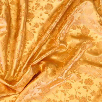 Bright Gold Rose Satin Jacquard
