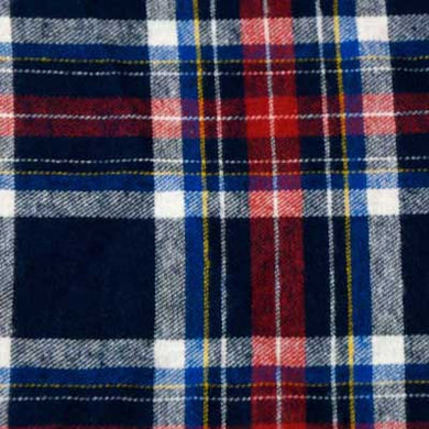 Navy Blue and Red Plaid Flannel Fabric