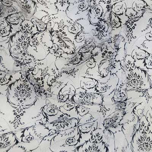 Flocked Black Damask on White Organza Fabric