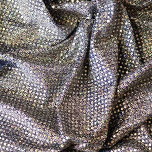 Silver on Navy Blue Confetti Dot Sequin Cheer Bow Costume Fabric by the Yard