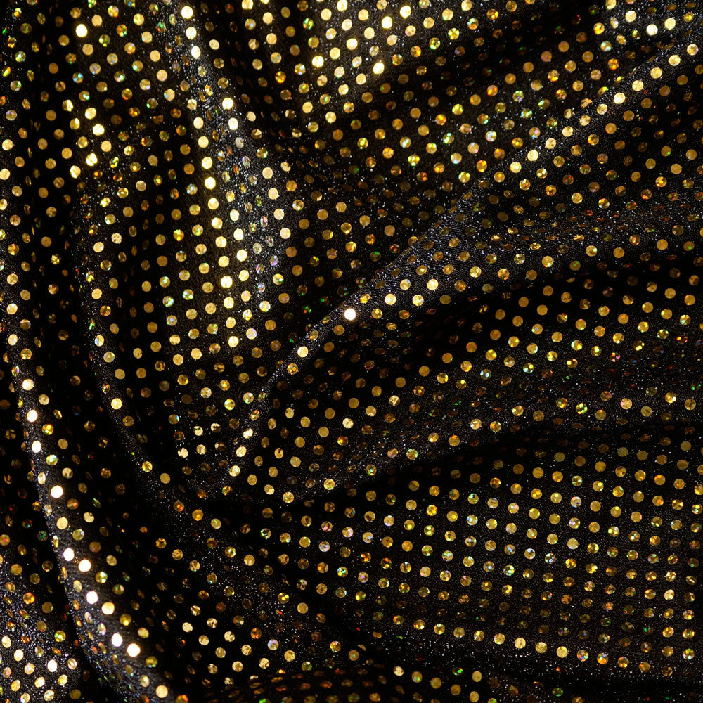 Gold Flakes on Black Confetti Dot Sequins Cheer Bow Costume Fabric by the Yard
