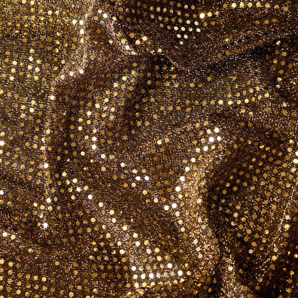 Black/Gold with Gold Flakes Confetti Dot Sequin Cheer Bow Costume Fabric by the Yard