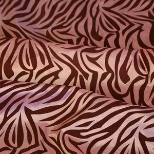 Flocked Pink Taffeta with Brown Zebra Stripes Fabric
