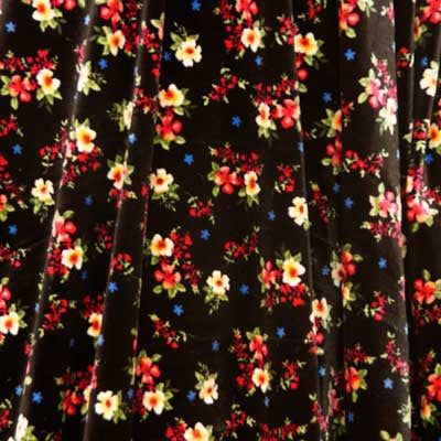 White & Red Flowers on Black Panne Velvet Fabric