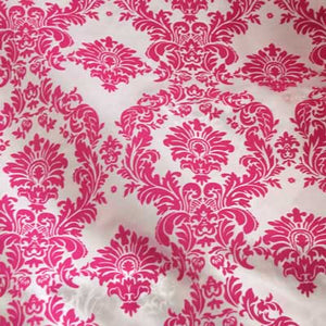 Flocked White Taffeta w/ Pink Velvet Damask Fabric
