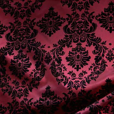 Flocked Burgundy Red Taffeta w/ Black Velet Damask Fabric