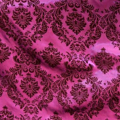 Flocked Fuchsia Pink Taffeta w/ Brown Velvet Damask Fabric