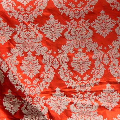Flocked Red Taffeta w/ White Velvet Damask Fabric