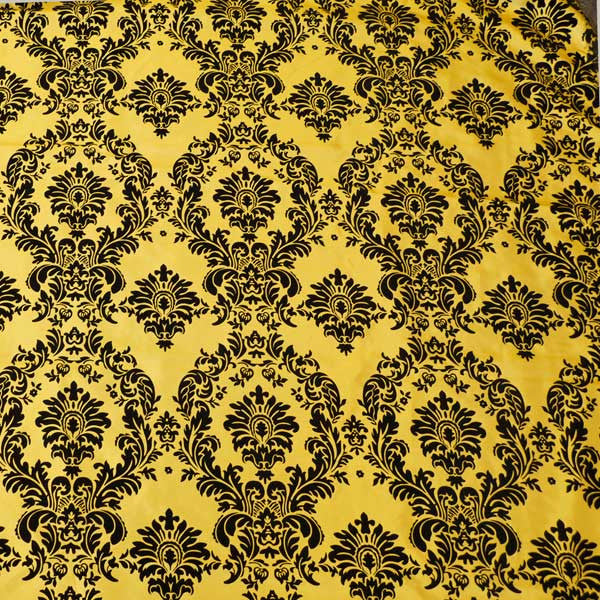 Flocked yellow taffeta w black velvet damask fabric