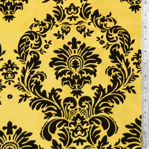Flocked Yellow Taffeta w/ Black Velvet Damask Fabric