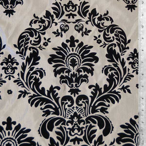 Flocked Gray Taffeta w/ Black Velvet Damask Fabric