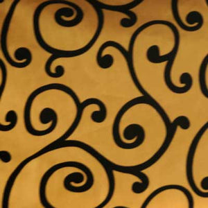 Flocked Gold Taffeta w/ Black Velvet Swirl Fabric