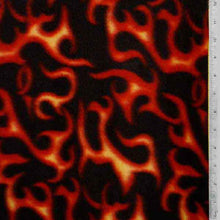 Black with Red and Gold Flame Fleece Fabric