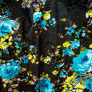 Black with Pastel Floral Burnout Velvet Fabric