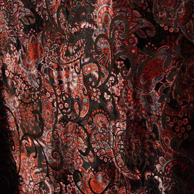 Black and Red Paisley Burnout Velvet Fabric